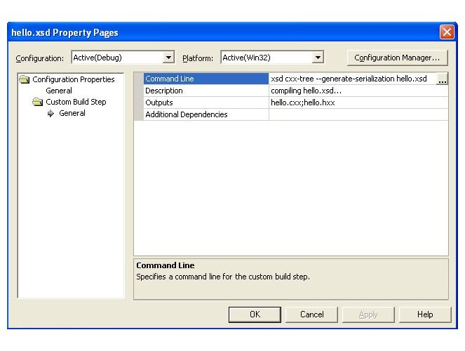 Visual Studio 7.1 Custom Build Step dialog screenshot