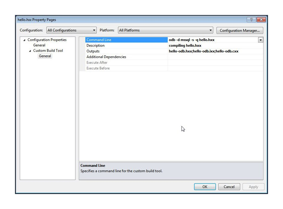 Visual Studio Custom Build Step dialog screenshot